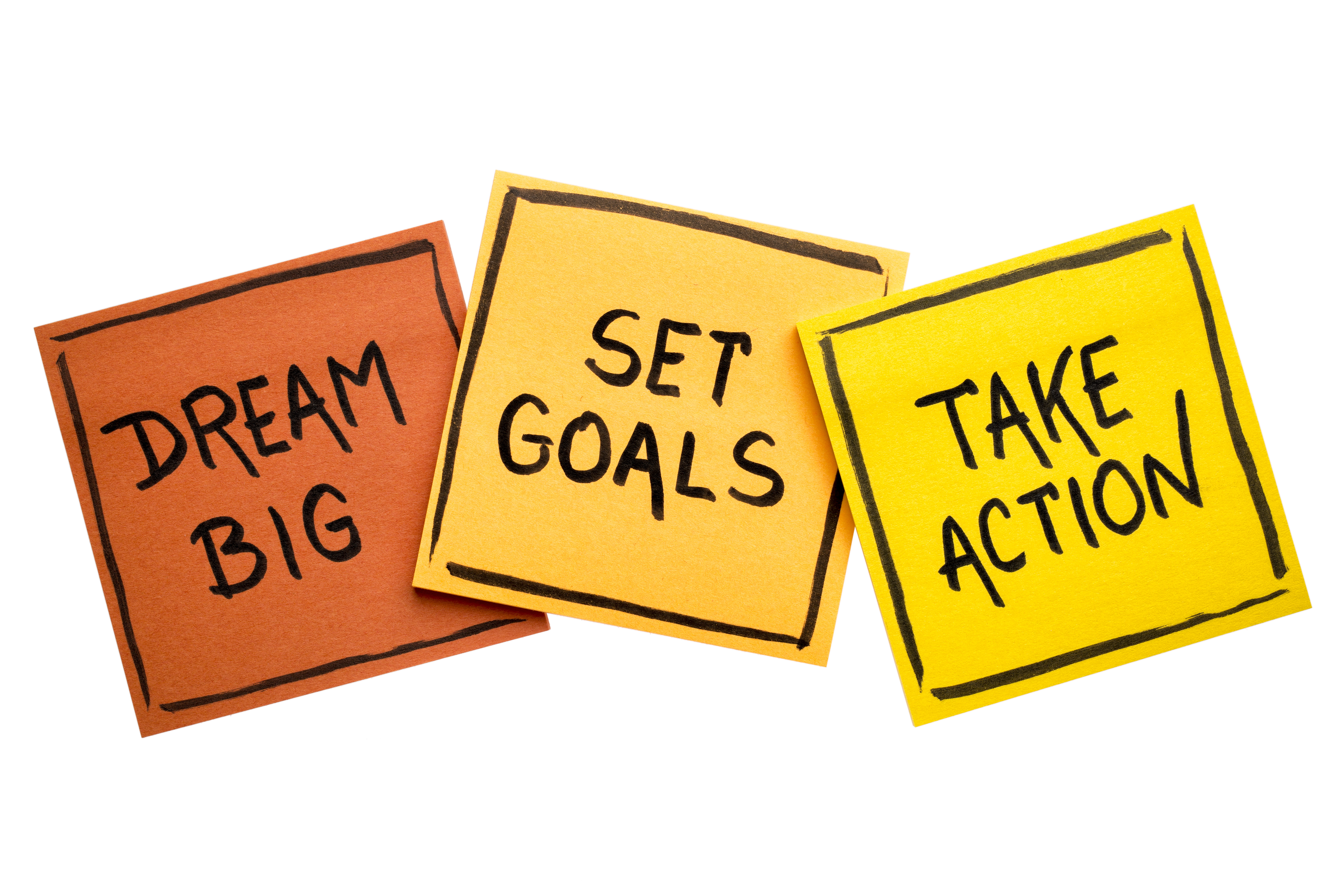 dream big, set goals, take action concept
